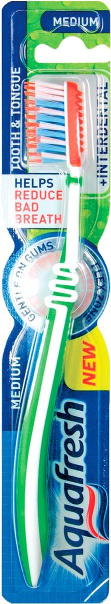 aquafresh AQUAFRESH Для зубов и языка с эффектом зубной нитки Средняя Зеленая (3830029293483)